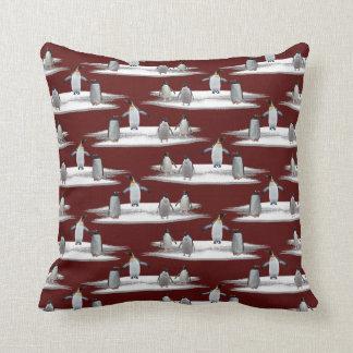 Penguin Iceberg Party Pillow (Burgundy)