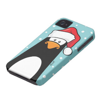 Penguin in a Santa Hat Case-Mate iPhone 4 Cases