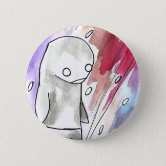 penguin in a snow storm 2 inch round button