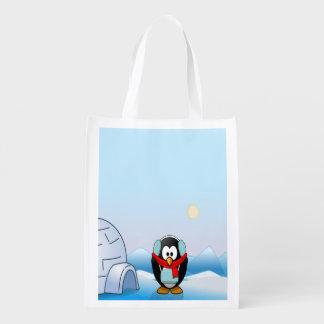 Penguin in Earmuffs, Cute Winter & Christmas Reusable Grocery Bag