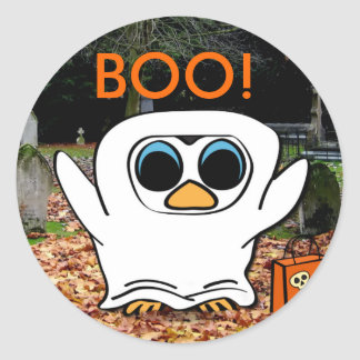 Penguin in Ghost Costume at Graveyard Classic Round Sticker