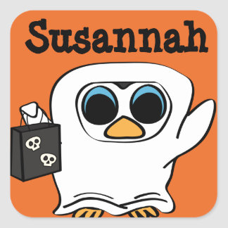 Penguin in Ghost Costume Trick or Treat Square Sticker