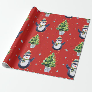 Penguin in Hat and Scarf and Green Tree Wrapping Paper
