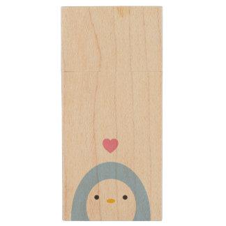 Penguin in Love Wooden USB Drive