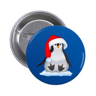 Penguin in Santa Hat 2 Inch Round Button