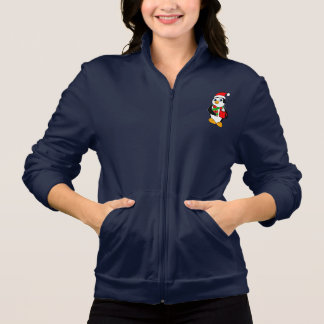 Penguin in Santa Hat Drinking Cocoa