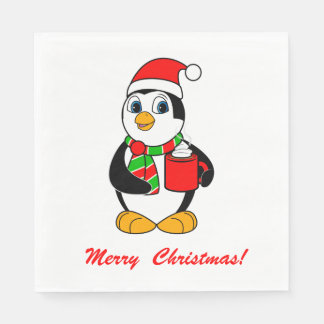 Penguin in Santa Hat Drinking Cocoa Holiday Party Disposable Napkins