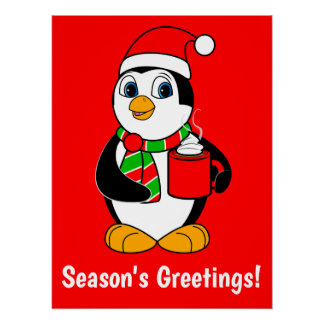 Penguin in Santa Hat Drinking Cocoa Holiday Party Poster