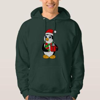 Penguin in Santa Hat Drinking Cocoa Hoodie