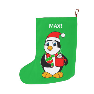 Penguin in Santa Hat Drinking Cocoa Large Christmas Stocking