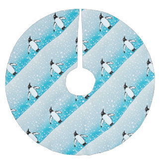 Penguin In The Snow Brushed Polyester Tree Skirt