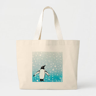 Penguin In The Snow Large Tote Bag