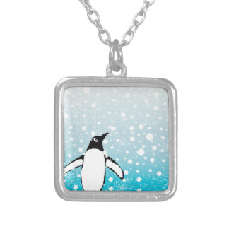 Penguin In The Snow Silver Plated Necklace