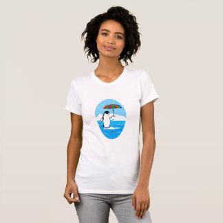 Penguin in the Snow Vignette on Women's T-Shirt