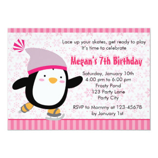 Penguin Invitation - Girls Birthday (Snowflake)