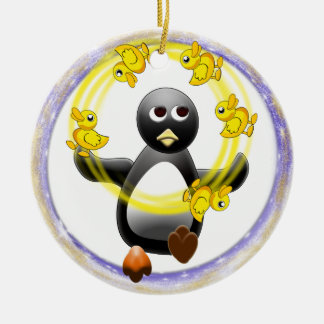 PENGUIN JUGGLING DUCKS CHRISTMAS ORNAMENT
