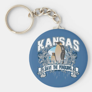 Penguin Kansas Basic Round Button Keychain