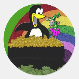 Penguin, Leprechaun, Gold and Rainbow Classic Round Sticker