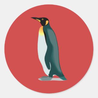 penguin linux image round sticker