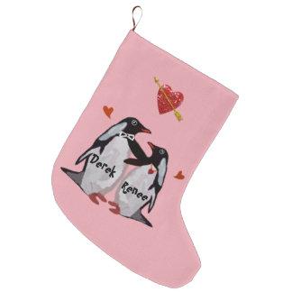 Penguin Love Christmas Stockings Large Christmas Stocking