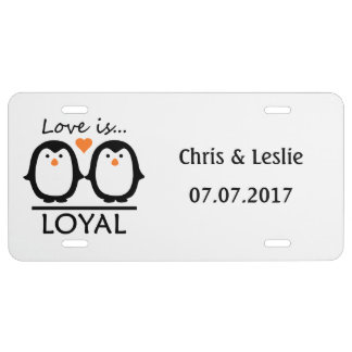 Penguin Love custom license plate