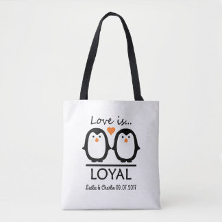 Penguin Love custom names & date bags