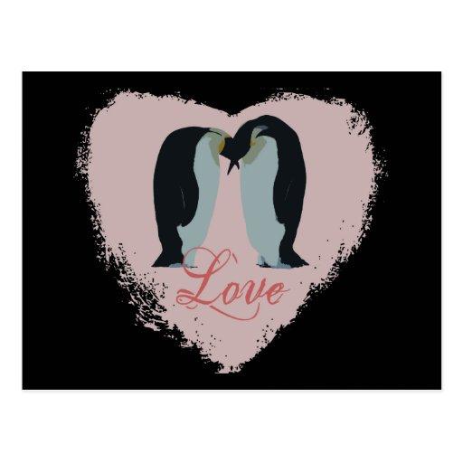 Penguin Love Heart Postcard