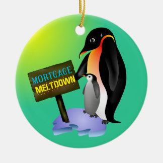 Penguin Mortgage Meltdown Ceramic Ornament