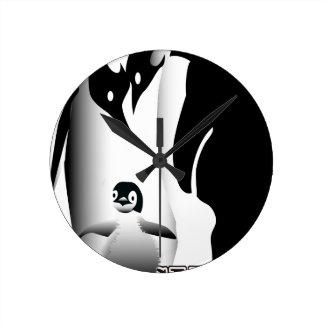 Penguin Mug Round Clock