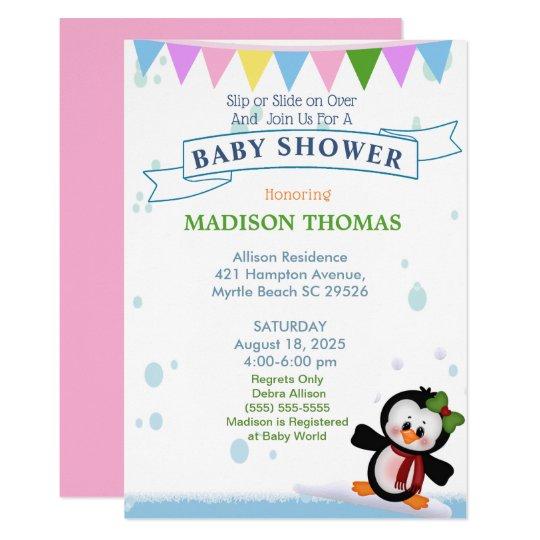 Penguin On Ice Baby Shower Invitation