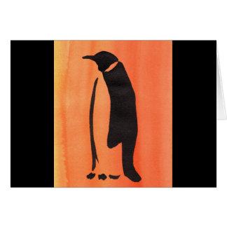 Penguin On Orange Card