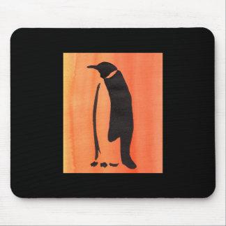 Penguin On Orange Mouse Pad