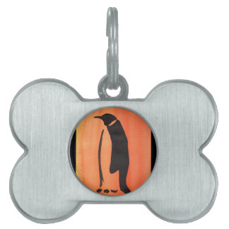 Penguin On Orange Pet ID Tag