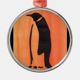 Penguin On Orange Silver-Colored Round Ornament