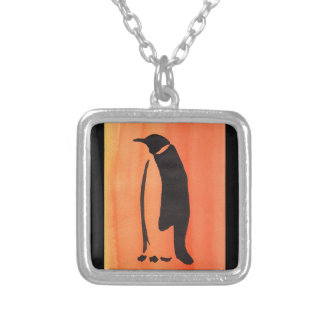 Penguin On Orange Silver Plated Necklace