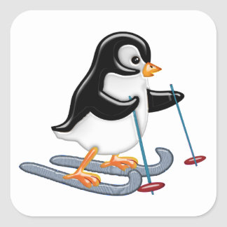 Penguin on Skis Square Sticker