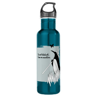 Penguin on Vacation Funny Chic Illustration 710 Ml Water Bottle