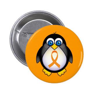 Penguin Orange Ribbon Of Awareness Gift 2 Inch Round Button