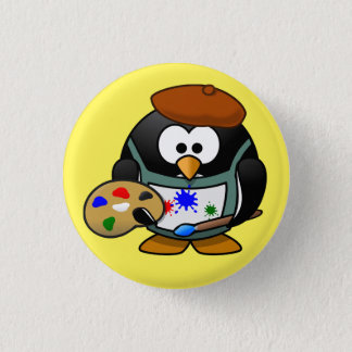 penguin painter swipes in 1 inch round button