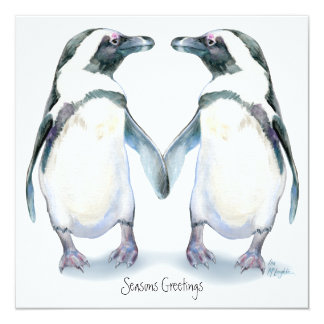 "Penguin Pals, From both of us... 5.25"" Square Invitation Card"