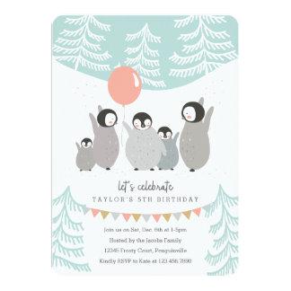 "Penguin Party 5"" X 7"" Invitation Card"