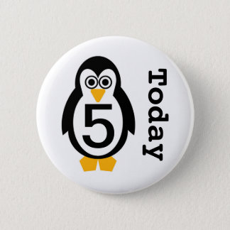 Penguin Party Customisable Age Badge 2 Inch Round Button