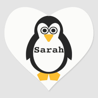 Penguin Party Personnalised Heart Sticker