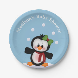 Penguin  Personalized Baby Shower Celebration Paper Plate