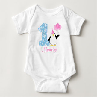 Penguin Pink Blue Girl Winter Onederland Birthday T-shirts