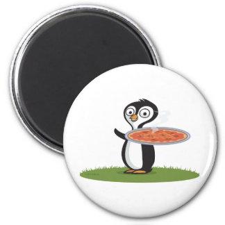 Penguin Pizza 2 Inch Round Magnet
