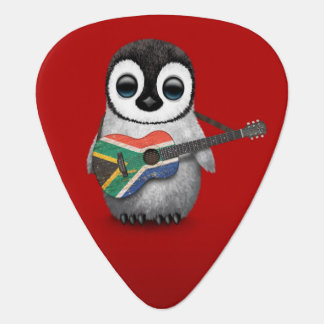 Penguin Playing South African Flag Guitar Red Guitar Pick