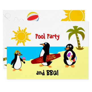 Penguin Pool Party / Beach Party Card