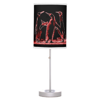 PENGUIN RED BLACK AND WHITE TABLE LAMP