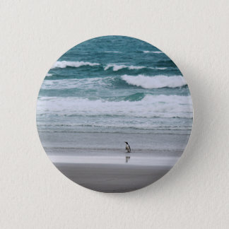 Penguin returning from the ocean 2 inch round button